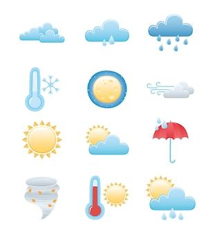 Conjunto de iconos del tiempo, lluvioso invierno verano sol noche luna nube sol caliente y frío