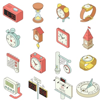 Conjunto de iconos de tiempo y reloj. ilustración isométrica de 16 iconos de vector de hora y reloj para web