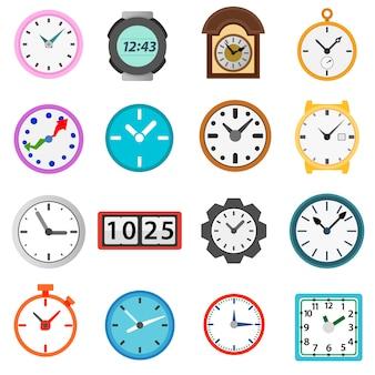 Conjunto de iconos de tiempo y reloj