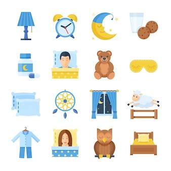 Conjunto de iconos de tiempo de sueño en un estilo plano