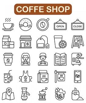 Conjunto de iconos de la tienda de café, estilo de contorno