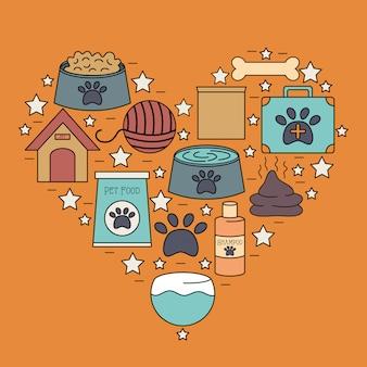 Conjunto de iconos de la tienda de cuidado de la mascota