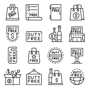 Conjunto de iconos de tienda libre de impuestos