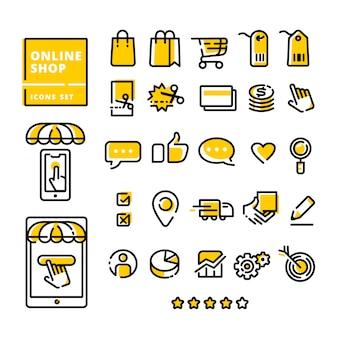 Conjunto de iconos de tienda en línea moderna línea plana