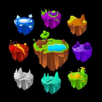 Conjunto de iconos de tierras para el juego