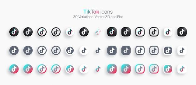 Conjunto de iconos de tiktok moderno 3d y plano en diferentes variaciones