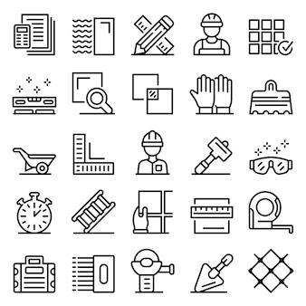 Conjunto de iconos de tiler, estilo de contorno