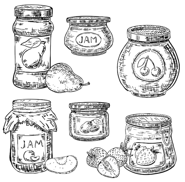 Conjunto de iconos de tinta estilo dibujado a mano fruta mermelada tarro