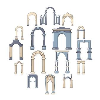 Conjunto de iconos de tipos de arco, estilo de dibujos animados