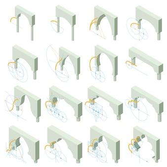Conjunto de iconos de tipos de arco. ilustración isométrica de 16 tipos de arco iconos vectoriales para web