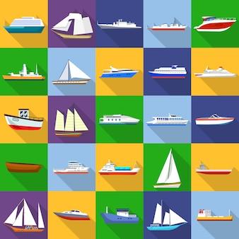 Conjunto de iconos de tipos de buques marinos. ilustración plana de 25 iconos de tipo de embarcación marina para web