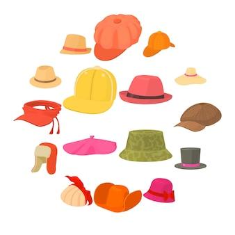 Conjunto de iconos de tipos de sombrero tocado, estilo de dibujos animados