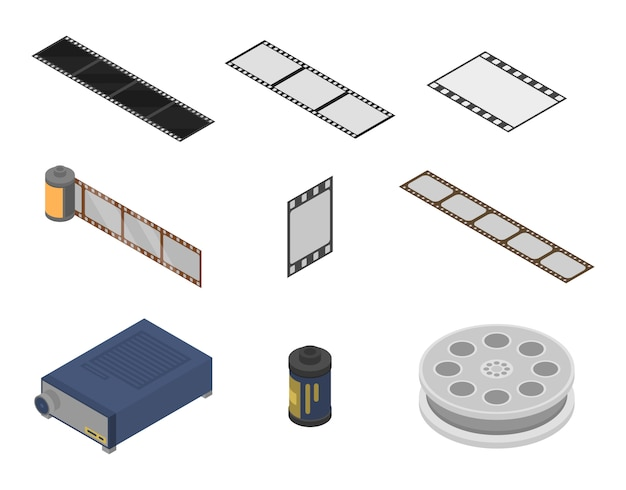 Conjunto de iconos de tira de película, estilo isométrico