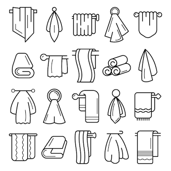 Conjunto de iconos de toalla. esquema conjunto de iconos de vector de toalla
