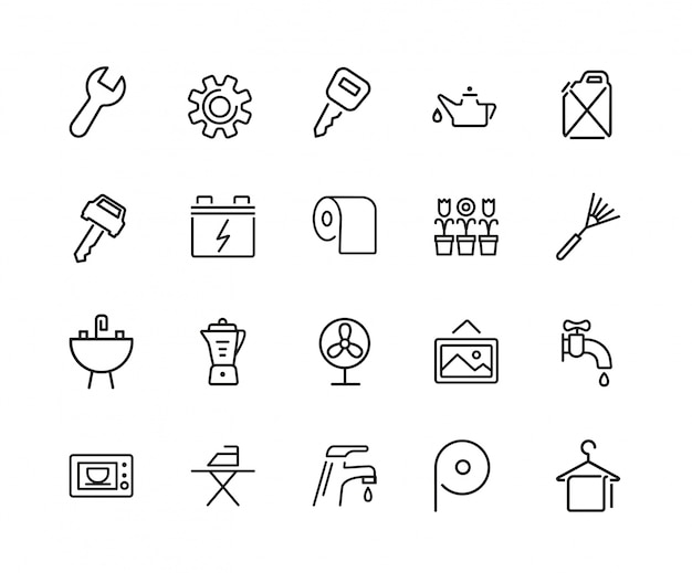 Conjunto de iconos de toallas y herramientas