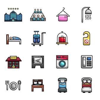 Conjunto de iconos a todo color de elementos de alojamiento de vacaciones de hotel