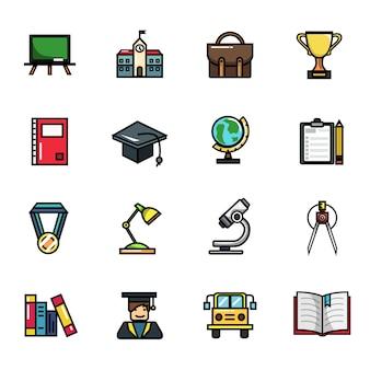 Conjunto de iconos a todo color de elementos de educación de colegio escolar