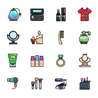 Conjunto de iconos a todo color de elementos de maquillaje femenino de belleza
