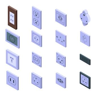 Conjunto de iconos de toma de corriente, estilo isométrico