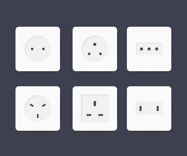 Conjunto de iconos de toma de corriente