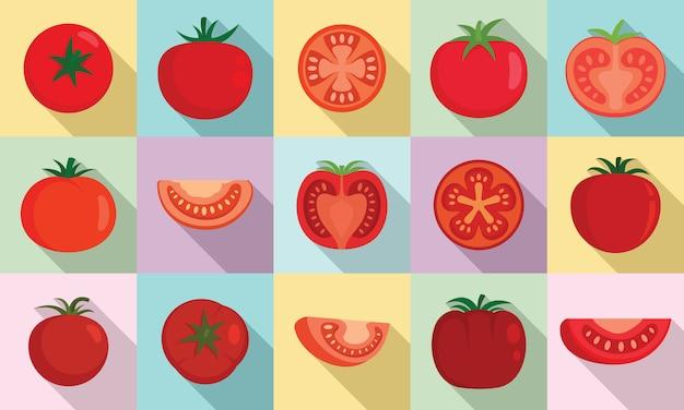 Conjunto de iconos de tomate, estilo plano