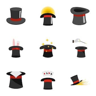 Conjunto de iconos de topper, estilo plano