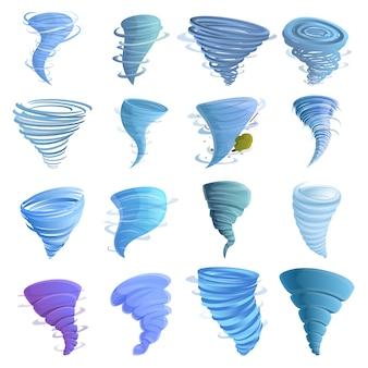 Conjunto de iconos de tornado, estilo de dibujos animados