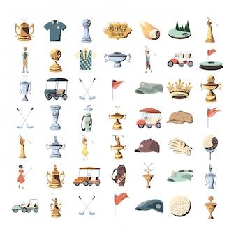 Conjunto de iconos de torneo de golf trofeo dorado