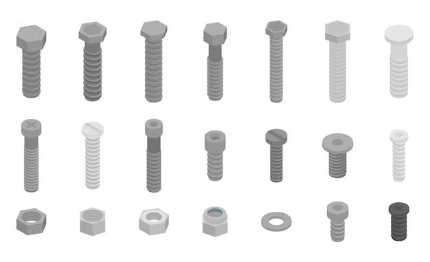 Conjunto de iconos de tornillo-perno, estilo isométrico