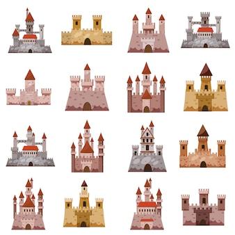 Conjunto de iconos de la torre del castillo, estilo de dibujos animados