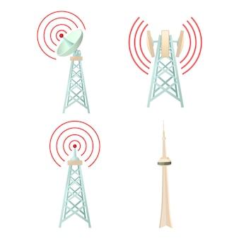 Conjunto de iconos de la torre de comunicación tele