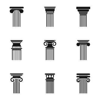 Conjunto de iconos de la torre. sencillo set de 9 iconos de torre.
