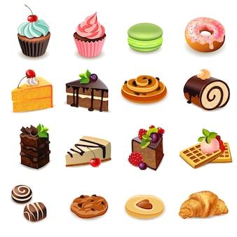Conjunto de iconos de tortas