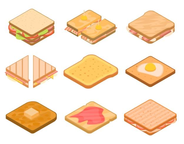Conjunto de iconos de tostadas, estilo isométrico