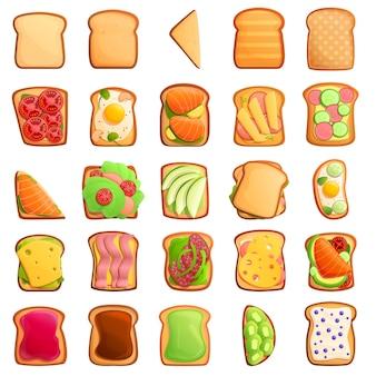 Conjunto de iconos de tostadas