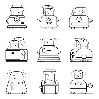 Conjunto de iconos de tostadora. esquema conjunto de iconos de vector de tostadora