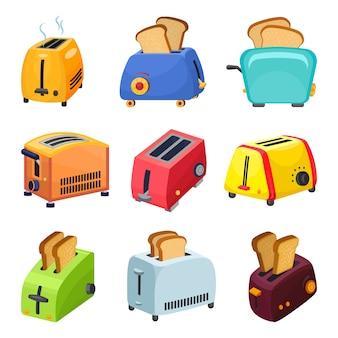 Conjunto de iconos de tostadora, estilo de dibujos animados