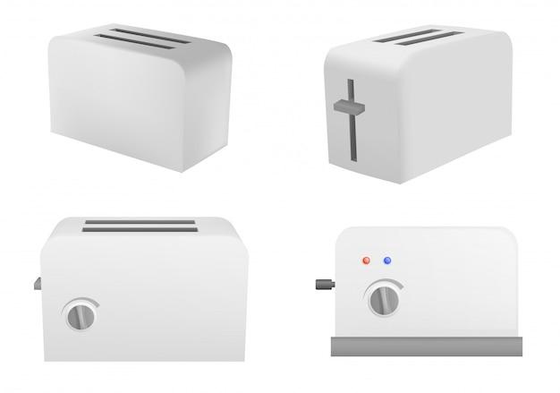 Conjunto de iconos de tostadora, estilo realista