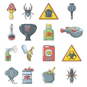 Conjunto de iconos tóxicos de peligro de veneno