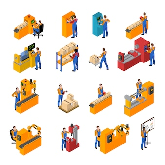 Conjunto de iconos de los trabajadores de fábrica
