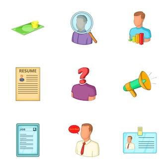 Conjunto de iconos de trabajo, estilo de dibujos animados