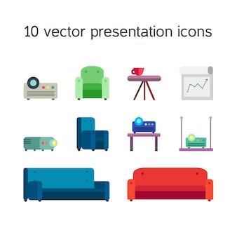 Conjunto de iconos de trabajo de oficina de proyector