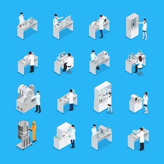 Conjunto de iconos de trabajos de laboratorio