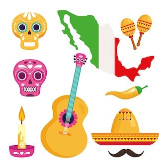 Conjunto de iconos tradicionales para la celebración de la independencia de méxico.