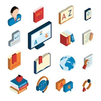 Conjunto de iconos de traducción y diccionario