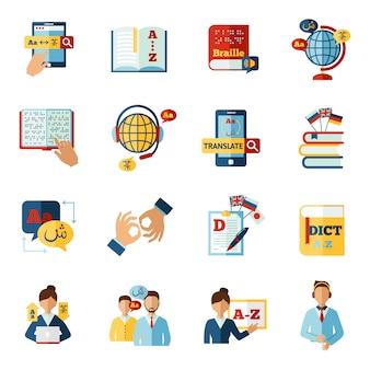 Conjunto de iconos de traductor