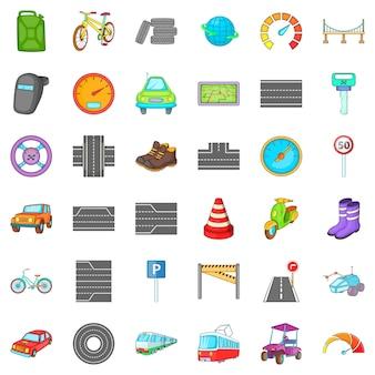 Conjunto de iconos de tráfico de coche, estilo de dibujos animados