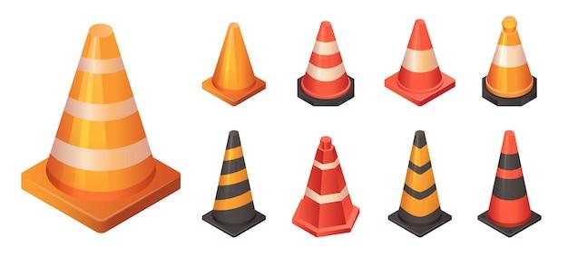 Conjunto de iconos de tráfico de cono, estilo isométrico