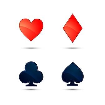 Conjunto de iconos de trajes de tarjeta brillante aislados en blanco