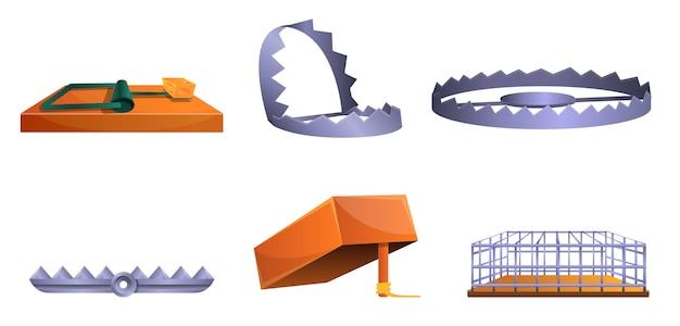 Conjunto de iconos de trampa, estilo de dibujos animados
